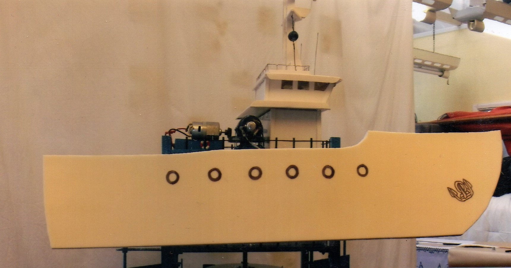 Eric Hoare's model of his tidal energy device in its ship guise so as not to be an eyesore when viewed from land.