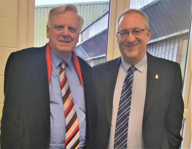 Isle of Wight County Press: Awards guest of honour, ex-BBC and Channel 4 chief, Lord Michael Grade, with Isle of Wight County Press sports editor, Jon Moreno.