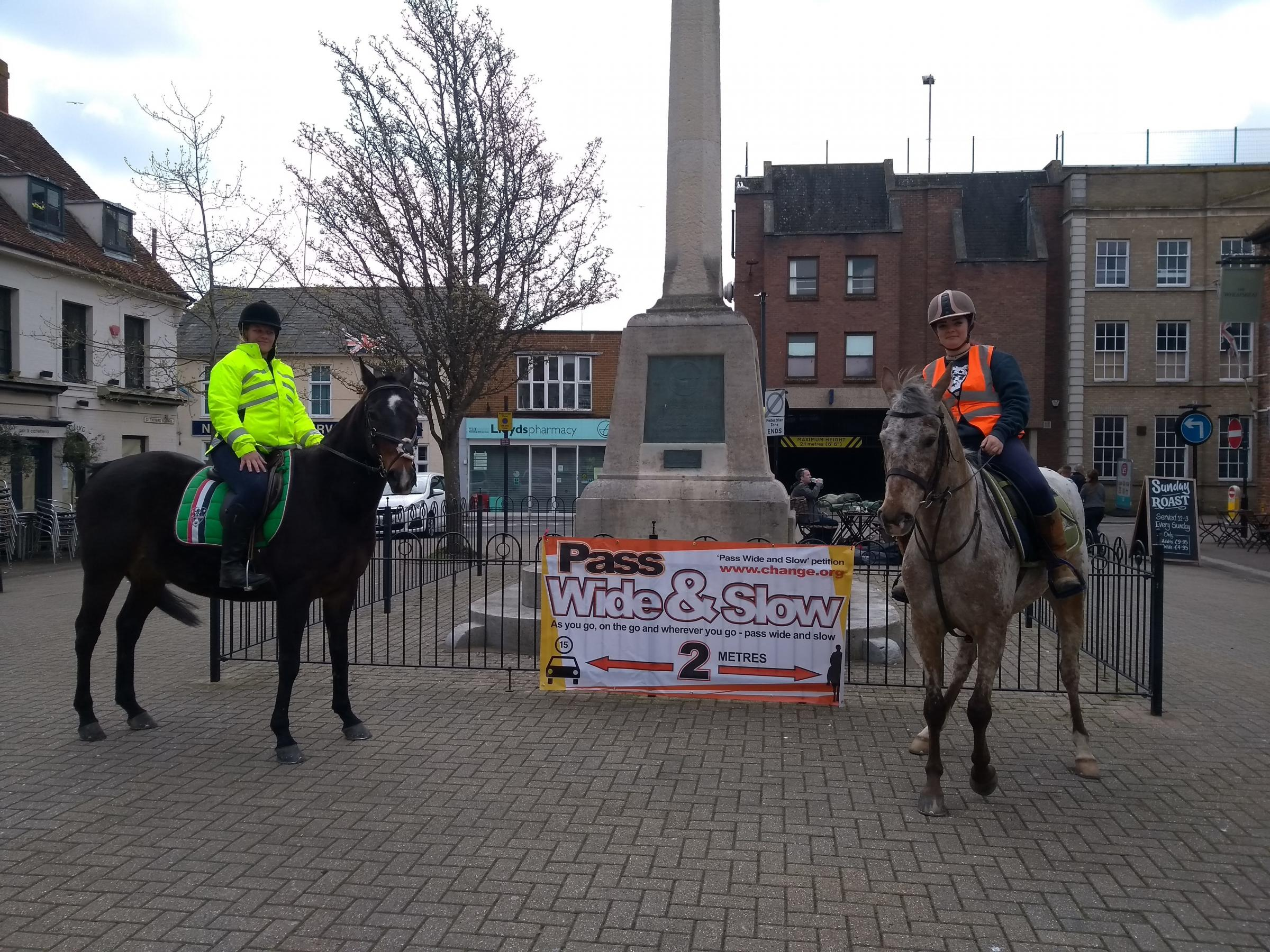 Horse riders gathered in Newport's Sts Thomas' Square as part of a national campaign encouraging other road users to pass wide and slow.