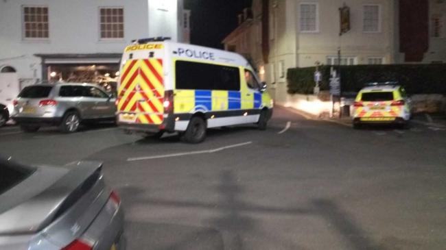 The scene in Quay Street, Yarmouth, last night, where two men were arrested.