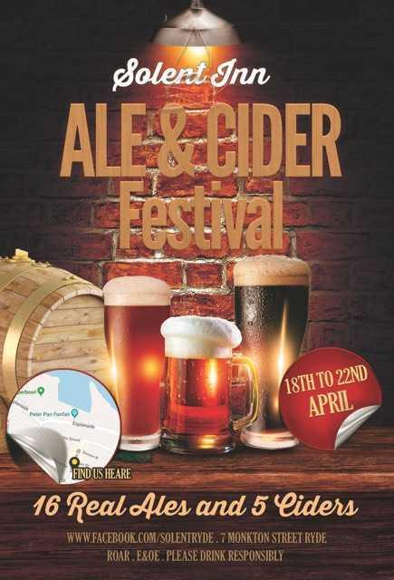 The Ale and Cider Festival takes place at the Solent Inn, Ryde, over the Easter weekend.