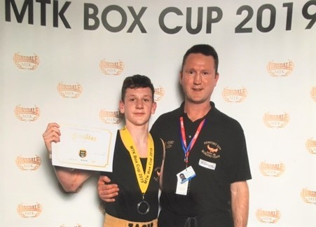 Jack Murphy, 17, with head coach at Newport Phoenix Amateur Boxing Club, Mike Voisey.