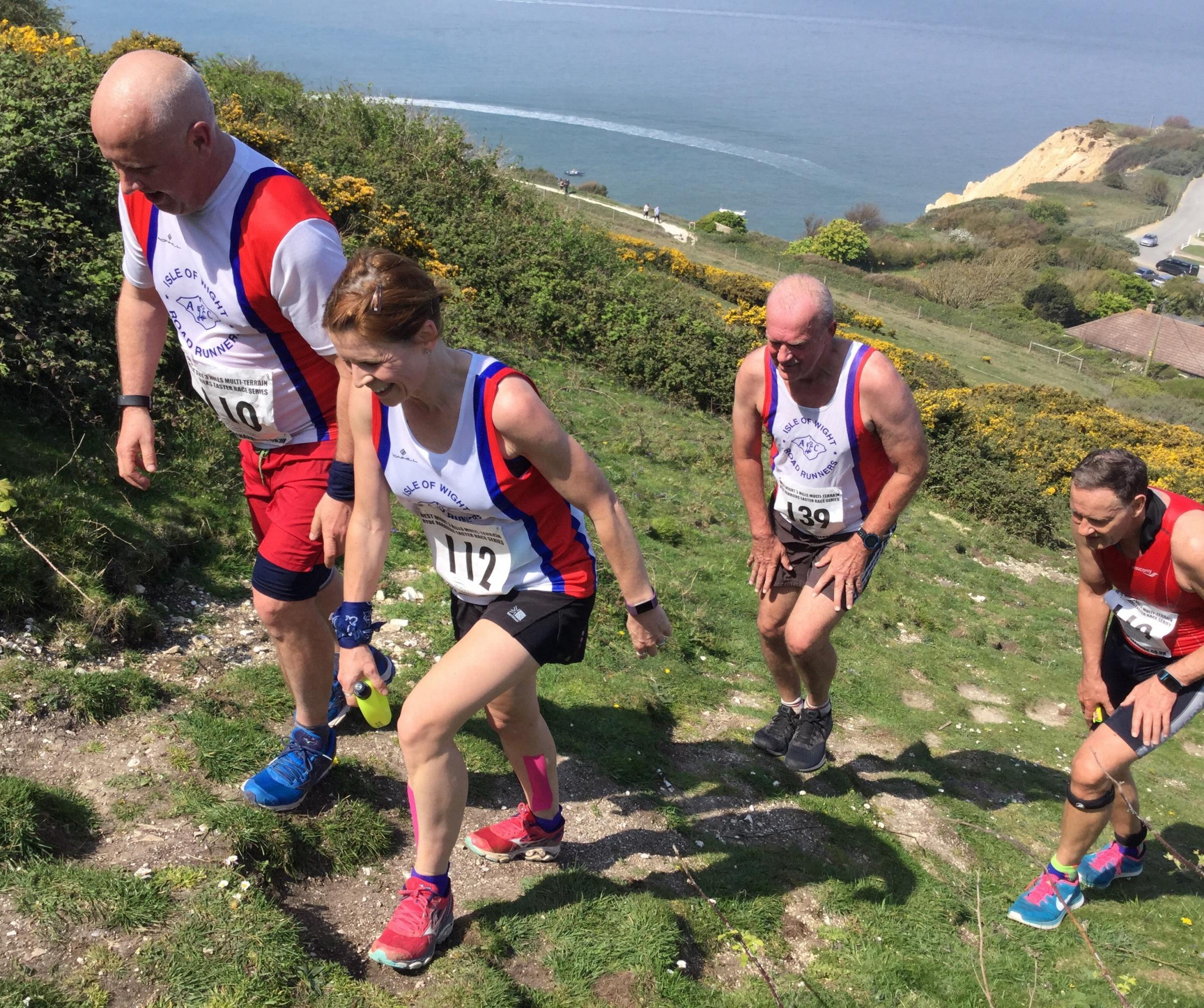 The West Wight Three Hills proved to be a challenge in the Easter heat on Monday.  Photo: IWRR