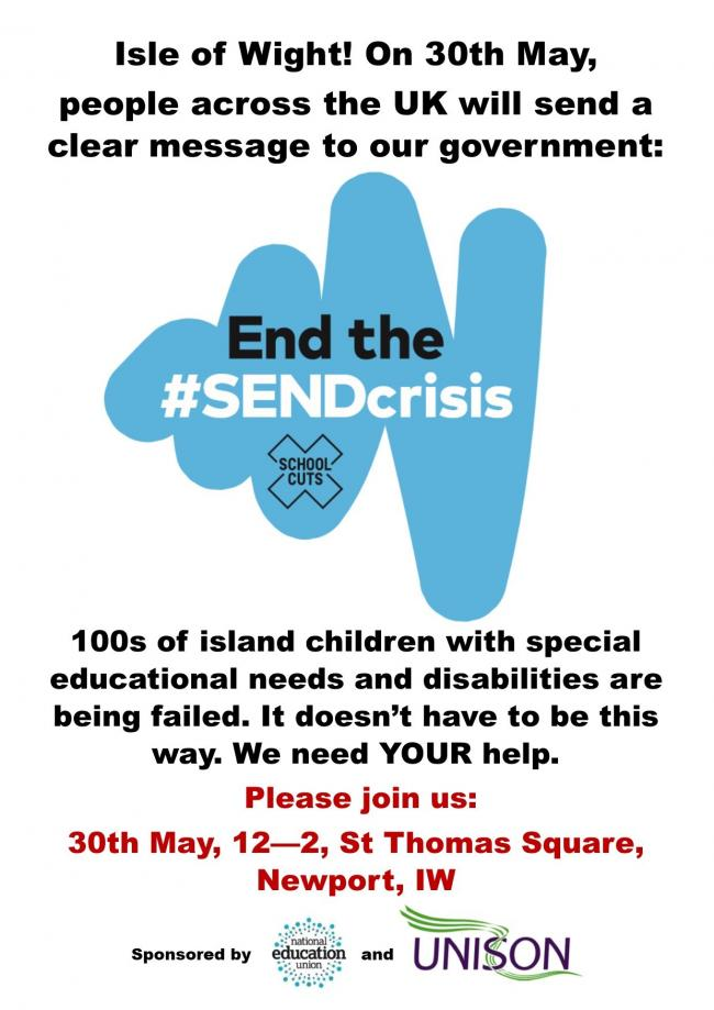The rally will demand an end to the crisis in funding and cuts to services for children with special educational needs.