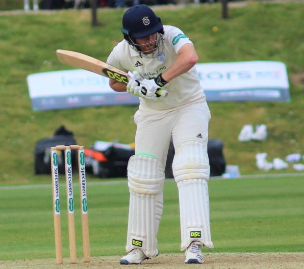 Isle of Wight County Press: England's Liam Dawson in action for Hampshire against Nottinghamshire at Newclose. The players of both teams praised the high standard of Andy Butler's work on the ground.