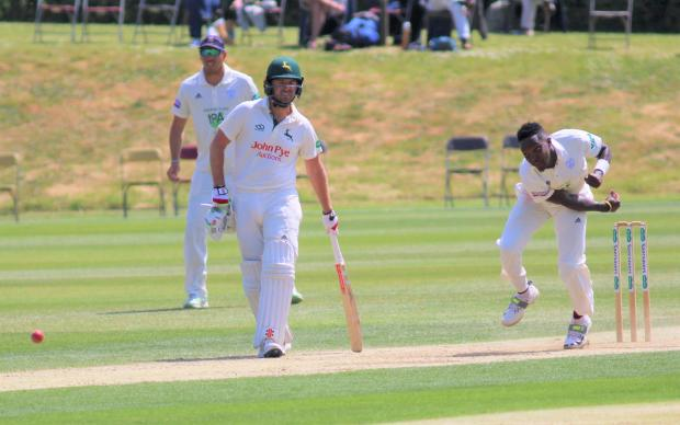 Isle of Wight County Press: West Indian paceman, Fidel Edwards, in action for Hampshire against Nottinghamshire at Newclose last year.
