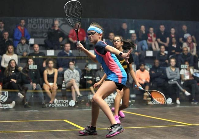 Amelie Haworth in action in the Dunlop British Junior Championships, which she won in October.  Photo: England Squash