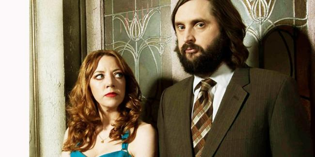 Diane Morgan and Joe Wilkinson, stars of the new television show The Cockfields, set on the Isle of Wight.