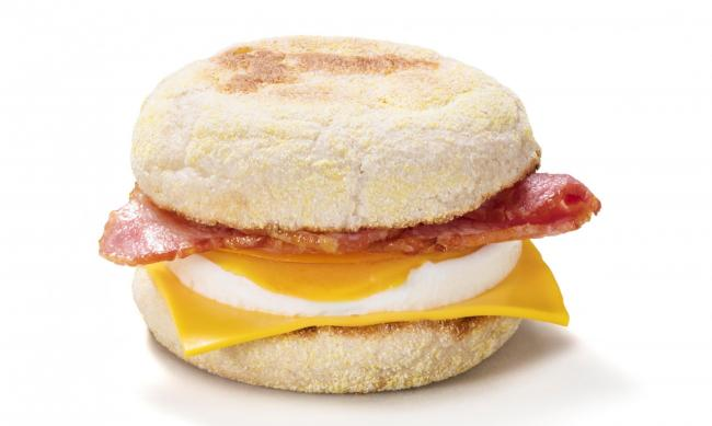 McDonald's bacon and egg McMuffin.