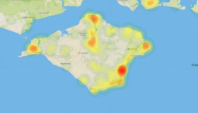 A heatmap for Japanese knotweed on the Isle of Wight. Picture courtesy of Environet.